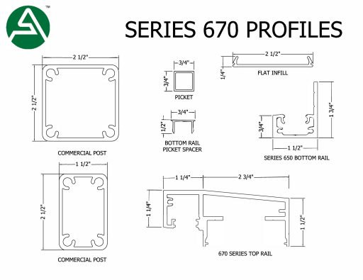 """Series 670 (4.00"""" sloping top rail with infill offset)"""